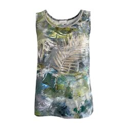 Just White Exotic Print Vest Top Khaki
