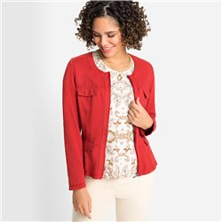 Olsen Round Neck Zip Jacket Red