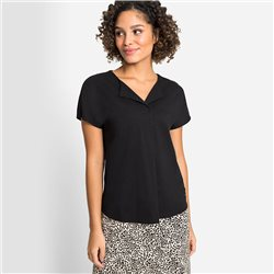 Olsen Top With Front Pleat Black
