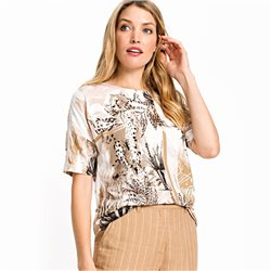 Olsen Safari Print Top Beige