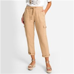 Olsen Linen Trousers With Side Pocket Detail Beige