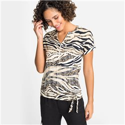 Olsen Zebra Print V Neck Top Black