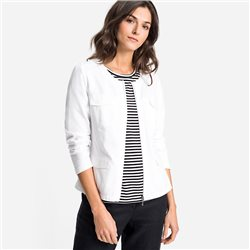 Olsen Round Neck Zip Jacket White