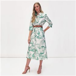 Fee G Leaf Print Shirt Dress Green