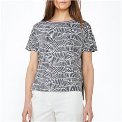 Sandwich Leaf Print Top Grey