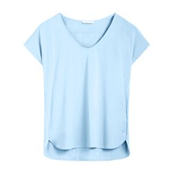 Sandwich V Neck Top Pale Blue