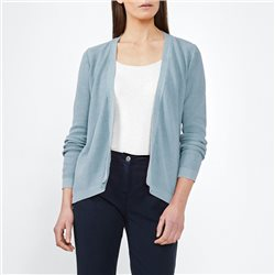 Sandwich Cotton Ribbed Cardigan Blue