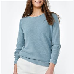Sandwich Cotton Ribbed Jumper Blue