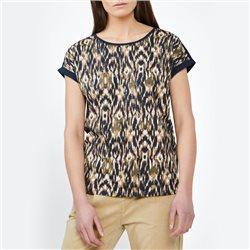 Sandwich Graphic Print Top With Roll Sleeves Navy