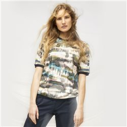 Sandwich Abstract Print Top With Ribbed Detail Beige