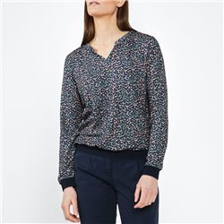 Sandwich Print Top With Ribbed Hem Navy