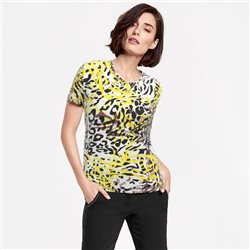 Lebek Animal Print Top Black