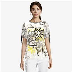 Lebek Grafitti Print Top With Drawstring Sleeve Beige
