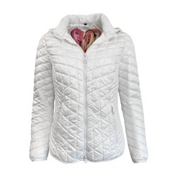 Lebek Quilted Coat With Detachable Hood Off White