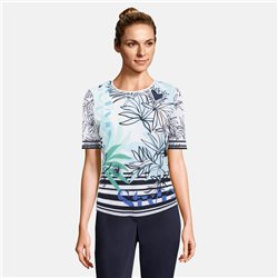 Lebek Heart And Flower Print Top Navy