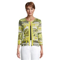 Betty Barclay Leaf Print Zip Jacket Lime