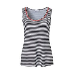 Just White Striped Vest Top Black