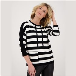 Monari Striped Sweater With Drawstring Tie Black