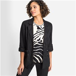 Olsen Linen Blazer With Drawstring Waist Black