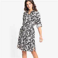Olsen Leaf Print Shirt Dress Black