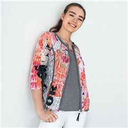 Just White Printed Zip Jacket With Stripe Trim Coral