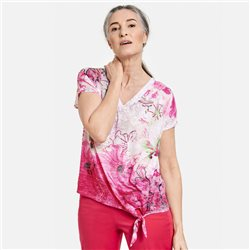 Gerry Weber Floral Print Top With Tie Detail Pink