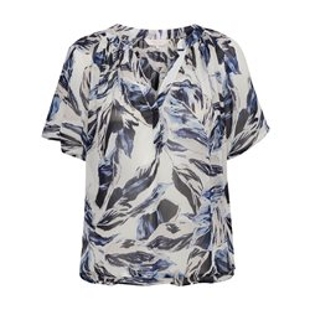 Lightweight Leaf Print Blouse Blue