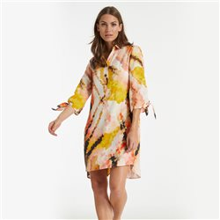 Abstract Print Shirt Dress Peach