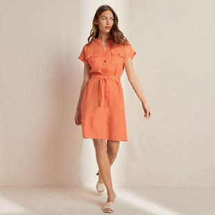 Linen Shirt Dress Peach