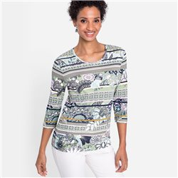 Round-Neck-Top-With-Floral-And-Stripe-Design-Green