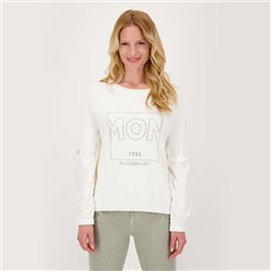Knitted Jumper With Rhinestones And Blouse-Style Sleeves Off White