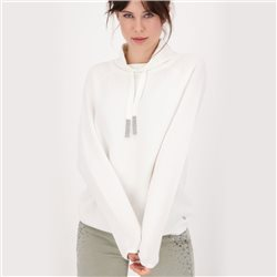 Cotton Knitted Jumper With Stand-Up Collar And Rhinestones Off White