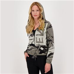 Jacquard Cardigan With Floral Pattern And Rhinestones Grey