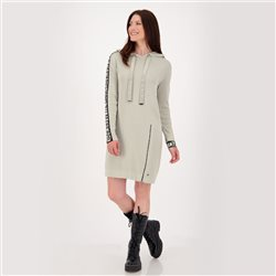 Midi-Length Knitted Dress With Hood And Zipper Green