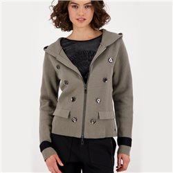 Military-Style Cardigan With Rear Print Grey