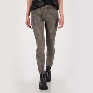 Printed 5 Pocket Jeans With Rhinestones Grey
