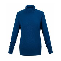 Polo Neck With Rouched Detailing Blue