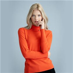 Polo Neck With Stud Detail To Collar Pumpkin