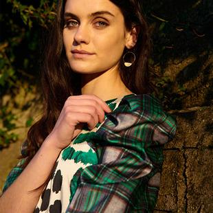 Midi Dress With Tartan Print Green
