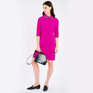 Collar Dress With Animal Print Trim Magenta