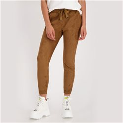 Imitation Suede Joggers Brown