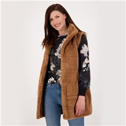 Long Fake Fur Gilet With Stand-Up Collar Brown