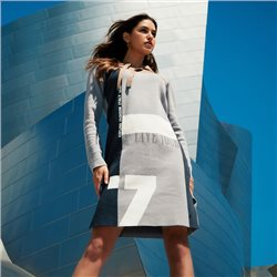 Jacquard Knitted Dress With Hood And Colour Block Grey