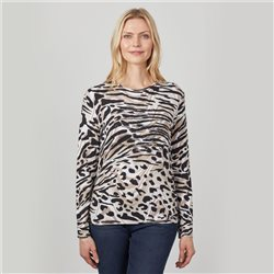 Round Neck Long Sleeve Animal Print Top Biscuit