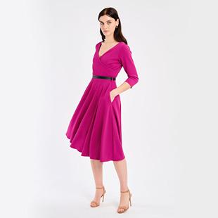 Wrap Dress With Belt Fuschia
