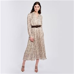 V Neck Dress With Pleated Skirt Beige