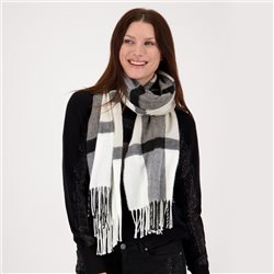 Scarf With Check Pattern Cream