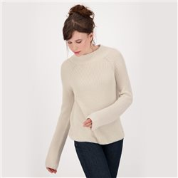 Knitted Jumper With Stand-Up Collar Cream