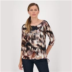 ¾-Sleeved Shirt With All-Over Print And Script Wine