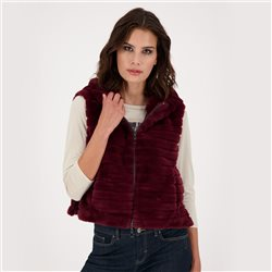 Faux Fur Gilet With Zipper And Hood Wine